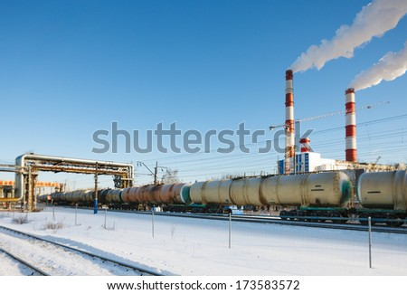 train on a background plant - stock photo