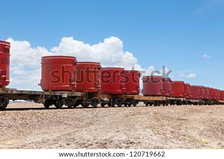 Train on a high plateau Altiplano of Bolivia - stock photo