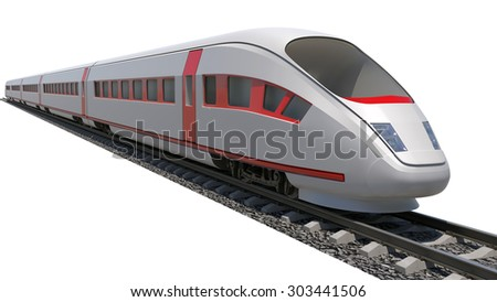 Train on isolated white background, side view - stock photo