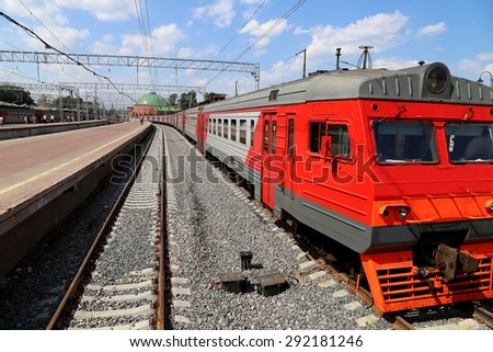 Train on Leningradsky railway station-- is one of the nine main railway stations of Moscow, Russia   - stock photo