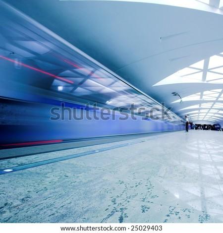 Train on platform in subway - stock photo