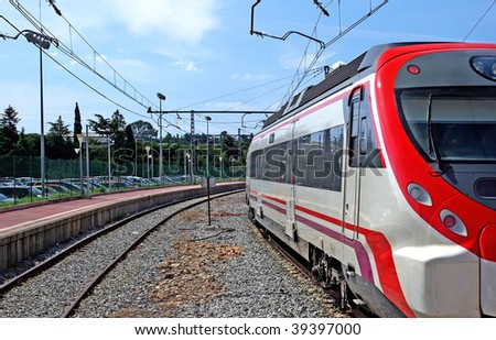 Train on station in Spain, Europe. - stock photo