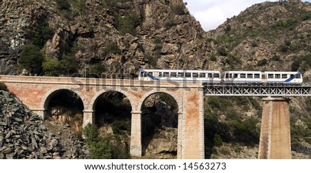 Train on the bridge through a precipice, Corsica, France