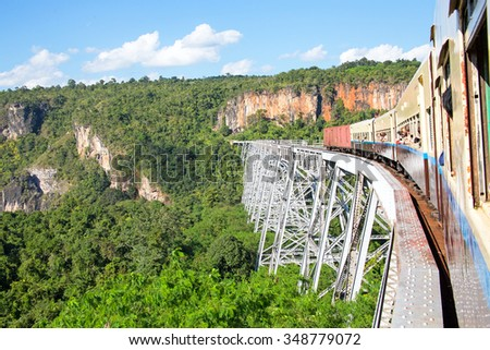 Train on the Goteik viaduct in Myanmar