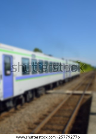 Train on the rail in Blur style - stock photo