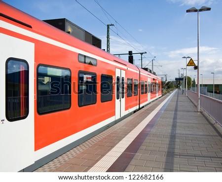 Train on the station, Bavaria, Germany - stock photo