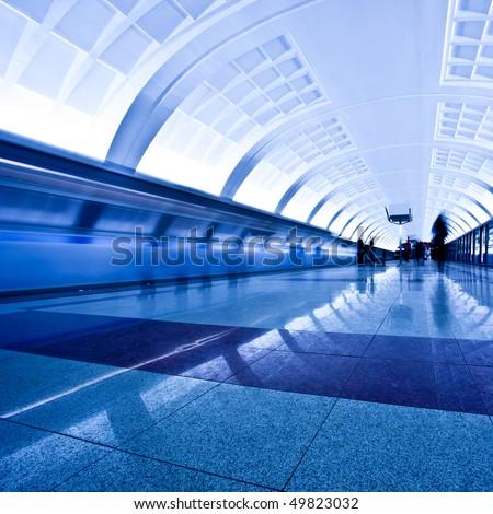 Train on underground platform, square composition - stock photo