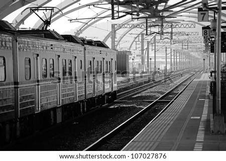 Train passing by the Don-Shan Train Station, Yi-Lan, Taiwan - stock photo