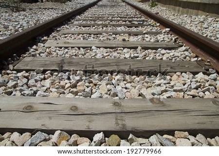 train rails, detail of railways in Spain - stock photo