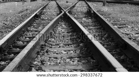 Train railway railroad track for junction in black white background