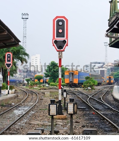 Train signals for railroad and and traffic light for locomotive at Bangkok platform railroad station Thailand with railroad track - stock photo