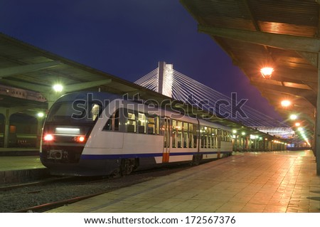 train station in Bucharest night city - stock photo