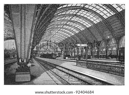 Train station in Frankfurt (Germany) / vintage illustration from Meyers Konversations-Lexikon 1897 - stock photo