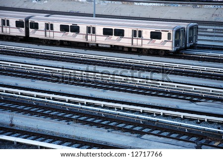 Train station, view from above - stock photo