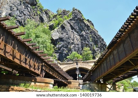 Train Track Bridge at Harpers Ferry in West Virginia, USA - stock photo
