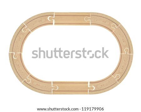 Train tracks isolated against a white background