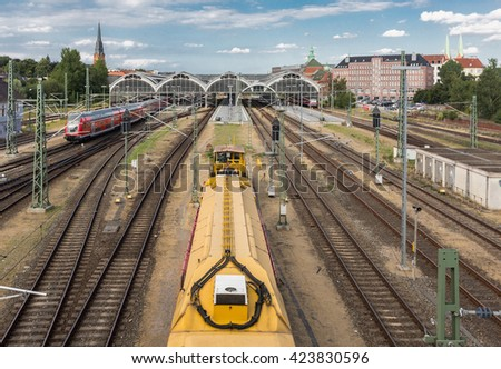 Train tracks near the central train station in Lubeck Germany