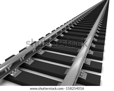Train tracks over a white background. 3D illustration - stock photo