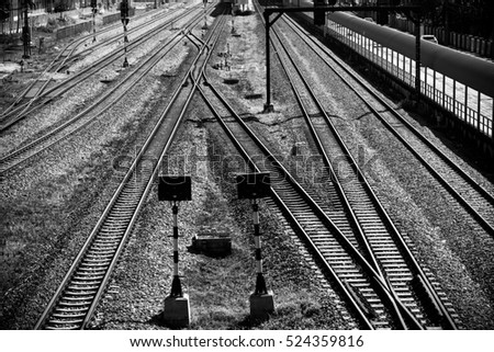 Train Tracks, Railway, Railroad, Black and white photos