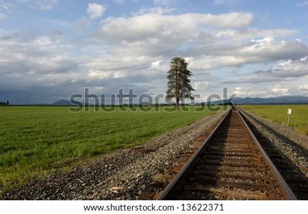Train tracks through a rural north Idaho area. - stock photo