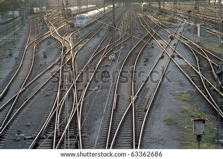 Train Tracks with Cars at the Station in Munich - stock photo