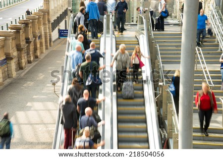 Train Tube station Blur people movement in rush hour at Edinburgh, Scotland, UK - stock photo