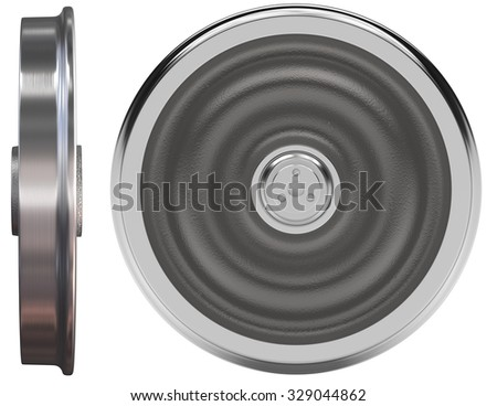 Train wheels isolated on white - stock photo