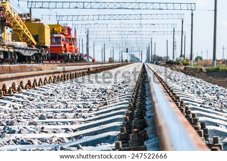 Train with special track equipment at repairs  - stock photo