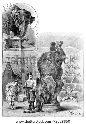 "Trained elephant. Engraving by Specht. Published in magazine ""Niva"", publishing house A.F. Marx, St. Petersburg, Russia, 1893"