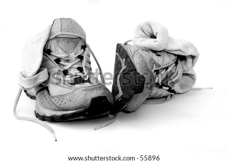 Trainers on bright background - stock photo