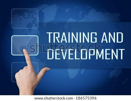 Training and Development concept with interface and world map on blue background - stock photo