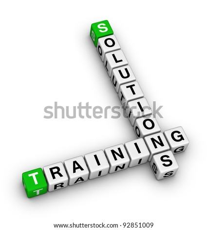 training and solution (green white 3d crossword puzzle) - stock photo