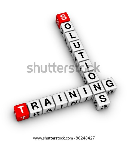 training and solution (red white 3d crossword puzzle)