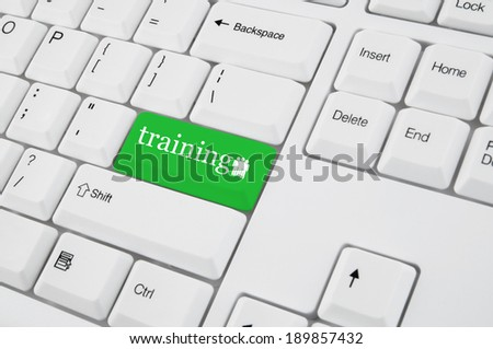 Training concept with computer keyboard - stock photo