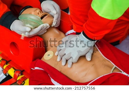 Training dummy used by paramedic trainees. - stock photo