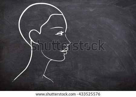 Training for hairdressers beauticians and massage therapists on a blackboard, training to work with people and their body - stock photo