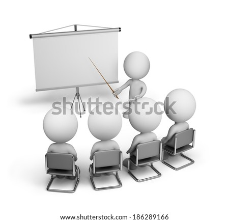 Training of employees in the conference hall. 3d image. White background. - stock photo