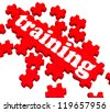 Training Puzzle Showing Business Coaching And Instructing - stock photo