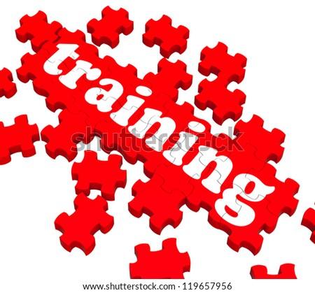 Training Puzzle Showing Business Coaching And Instructing - stock photo