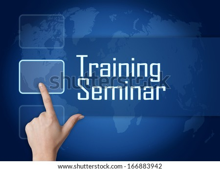 Training Seminar concept with interface and world map on blue background - stock photo