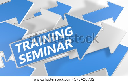 Training Seminar 3d render concept with blue and white arrows flying upwards over a white background. - stock photo
