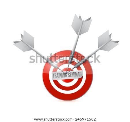 training seminar target illustration design over a white background - stock photo