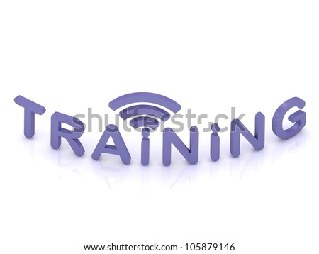 TRAINING sign with the antenna on isolated white background