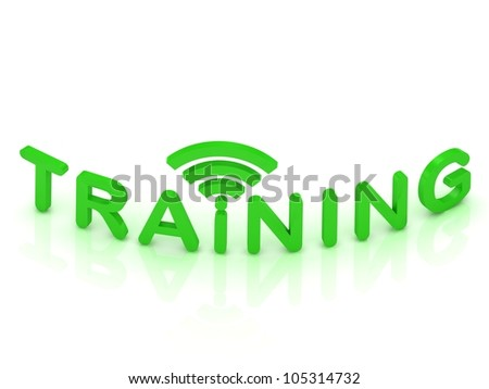 TRAINING sign with the antenna with green letters on isolated white background - stock photo