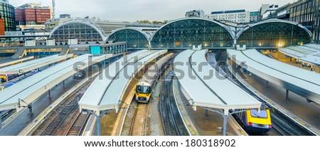 Trains at Paddington railway station in London, UK, panorama. - stock photo