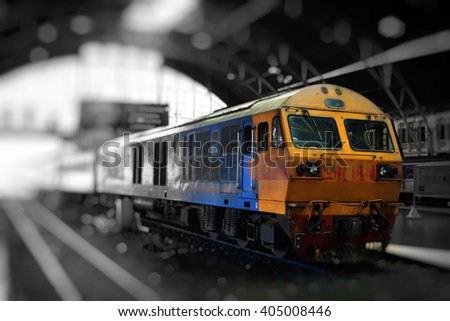 Trains of Thailand is moving into the station. - stock photo