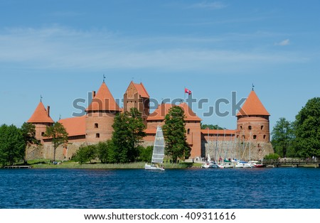 TRAKAI, LITHUANIA - JUNE 11, 2015: Trakai island castle.