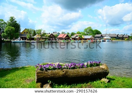 TRAKAI, LITHUANIA - MAY 31: Galves lake,Trakai old city old houses view on May 31, 2015, Trakai, Lithuania.