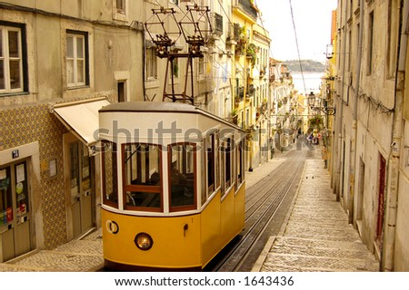 tram in lisbon - stock photo