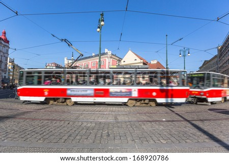Tram in Prague - stock photo